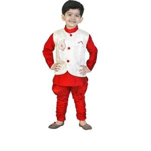 GENERATION NEXT Boys Kurta, Waistcoat and Pyjama Set  (Maroon Pack of 1)