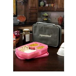Signoraware Compact Lunch Box With Bag - 850 ml, 100 ml, 100 ml Plastic Food Storage