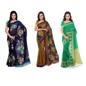 Anand Sarees Printed Fashion Faux Georgette Saree  (Pack of 3, Multicolor)