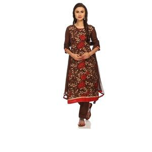 Easy Stitch Brown Georgette Embroidered Suit