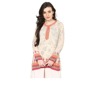 Grey Poly Cotton Straight Kurti