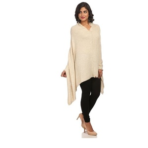Beige Asymmetric Acrylic & Wool Shrug