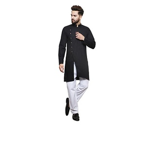 868dac55 Color Opera Kreation Men's New Style Solid Black Straight Kurta | ATS  Shopping