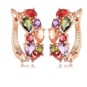 Yellow Chimes Flowerets Vine Zircon Brass Clip-on Earring