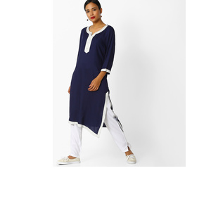 Straight Kurta with Contrast Neckline