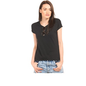 Turn Up Sleeve Round Neck T-Shirt