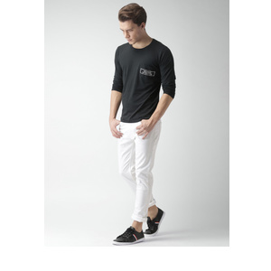 Mast & Harbour Men Black Solid Round Neck T-shirt