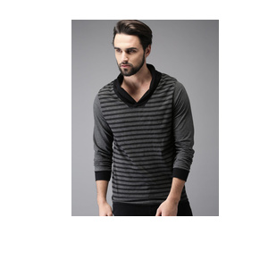 HERE&NOW Men Charcoal Grey & Black Striped T-shirt