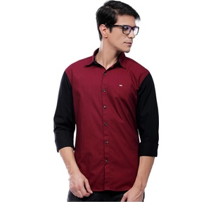 Rodid Men's Solid Casual Maroon, Black Shirt