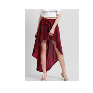 Texco Women Maroon Solid High-Low Skirt