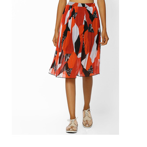 Printed Skirt with Accordion Pleats