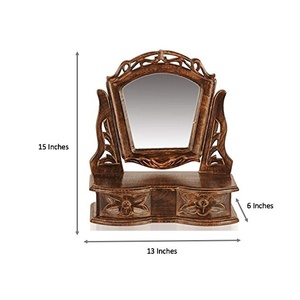 D'Core Crafts Gift Item Wooden Hand Carved Mini Dressing Mirror Cabinet With 2 Drawers