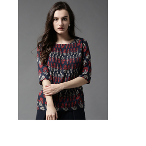 HERE&NOW Women Navy Blue & Red Printed Top