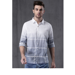 e718fb5c86a WROGN Men White Checked Casual Shirt