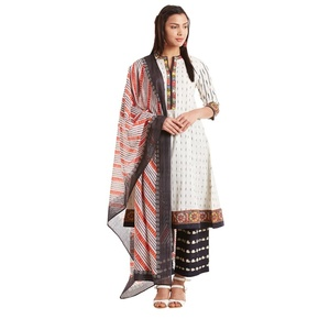 Off White Cotton Kalidar Suit Set