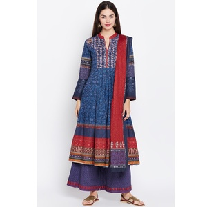 Blue Kalidar Cotton Suit Set