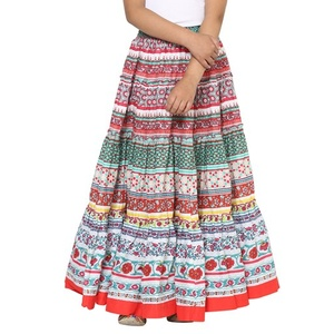 Multicolor Cotton Flared Skirt