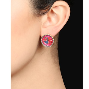Pink Enamel Earrings