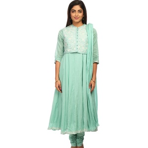 Sea Green Anarkali Cotton Silk Suit Set