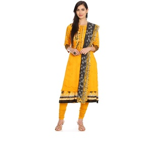 Mustard Straight Poly Cotton Suit Set