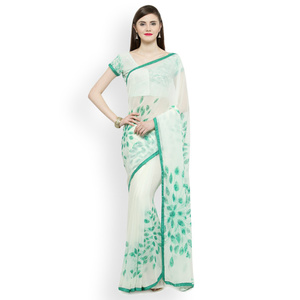Shaily White Printed Pure Georgette Saree