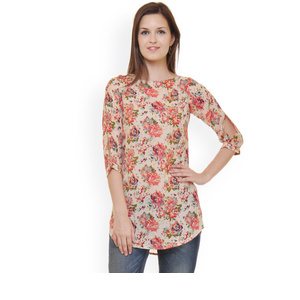 Ruhaans Beige Floral Print Tunic