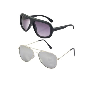 "Alpha Man ""Purple Colour Wayfarer With Silver Colour Aviator Sunglass"" Combo Of 2 Sunglass"