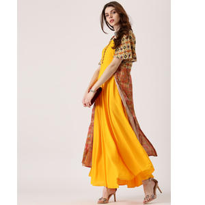 596b6d69d Libas Women Yellow Solid Anarkali Kurta with Printed Longline Ethnic  Jacket. Buy Now