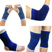 Aadya Shoppings Combo of Palm Ankle Knee Elbow Support for Gym Jogging Exercise Muscle Pain Health (Free Size, Blue) Palm, Elbow & Ankle Support (Free Size, Blue)