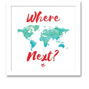Matte 8.5 x 0.5 x 8.5 Inch Where next Travel White Square Framed Poster by Thinkpot