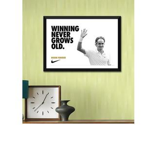 Poster Paper 12 x 17 Inch Motivational Quote Winning Never Grows Old Roger Federer Framed Poster by Tallenge