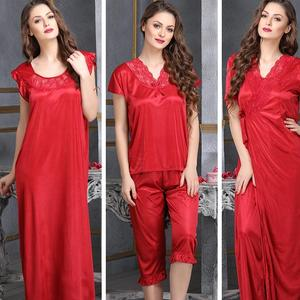4 PC SATIN NIGHTWEAR SET