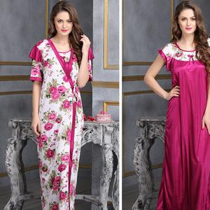2 PCS PRINTED SATIN NIGHTWEAR IN WINE - ROBE & NIGHTIE