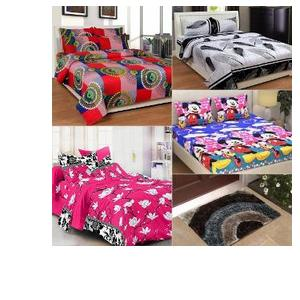 Midha Groups 13 Pc Double Bed Sheet Set & Door Mats Combo
