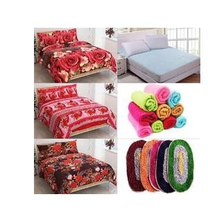 Super Saver Combo: 27 Pc Double Bed Sheet Set, Face Towel, Mattress Protector & Bath Mats by JARS Collections