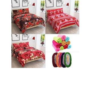 JARS Collections 26 Pc Premium QualityDouble Bed Sheet Set, Face Towel & Bath Mats Combo