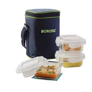 Borosil Klip N Store Microwavable Containers Lunch Box Set, 320ml, 3-Pieces, Transparent