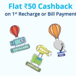 Flat Rs.50 Cashback on Recharge & Bill Payment