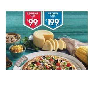 Any 2 Regular Pizzas at Rs. 99 each/ Medium @ 199 + 30% Cashback