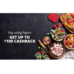 Up to Rs.100 Cashback when you pay using Paytm at House of Candy