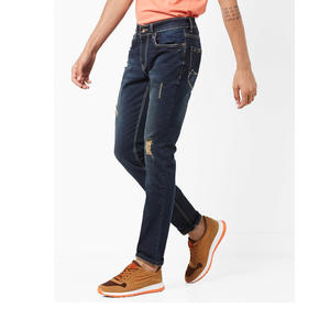 Lightly Washed & Distressed Slim Fit Jeans