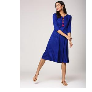 ABOF FUSION ROYAL BLUE REGULAR FIT FLARED KURTA