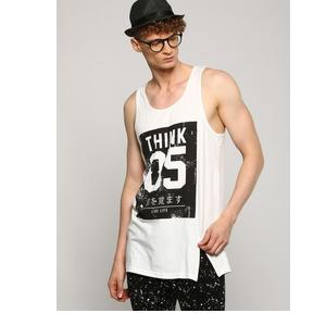 ABOF MEN WHITE & BLACK PRINTED LONGLINE VEST