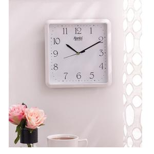 White Plastic Square Shape Wall Clock By Ajanta