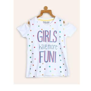 Miss & Chief Girl's Printed Cotton T Shirt  (White, Pack of 1)