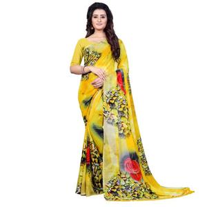 Printed Fashion Faux Georgette Saree  (Yellow)