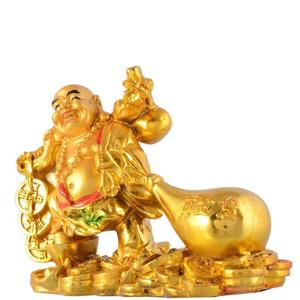 Golden Laughing Buddha With Potli Decorative Showpiece