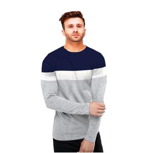 FastColors Solid Men Round Neck Grey, Blue T-Shirt
