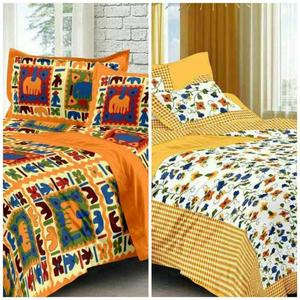 Fashion 120 TC Cotton Double King Printed Bedsheet