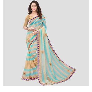 Striped Bollywood Silk Cotton Blend Saree